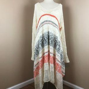 Sleeping On Snow- White XL Fallover Long Sweater